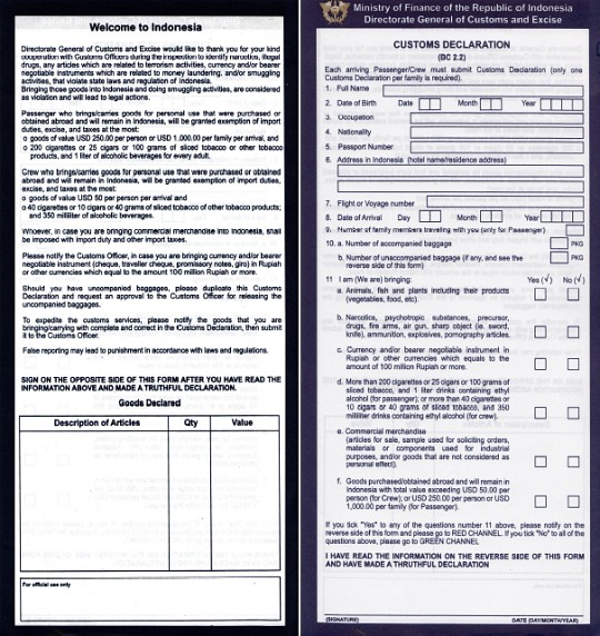 Customs Form